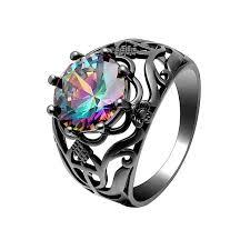 black gold wedding rings rainbow vintage rings for women 2017 trendy black gold color