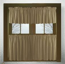 solid taupe khaki cotton kitchen tier cafe curtains