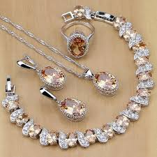 jewelry necklace rings images 925 sterling silver bridal jewelry champagne zircon jewelry sets jpg