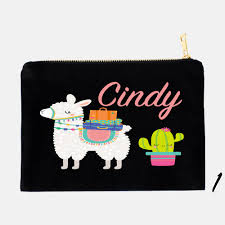 llama pencil case personalized pouch makeup bag cosmetic