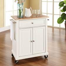 wood top kitchen island crosley furniture kf30021ebk natural wood top portable kitchen