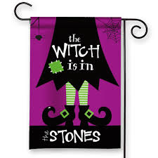 the witch is in personalized halloween garden flag u2013 front porch