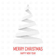 white paper christmas tree in origami style on white vector image