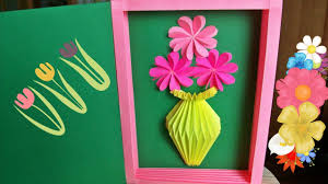 handmade greeting card with paper vase for birthday mother u0027s day
