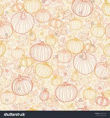 thanksgiving line pumkins seamless pattern stock vector
