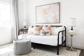 Pink And Gold Bedroom - pink and gold abstract art over black daybed transitional bedroom