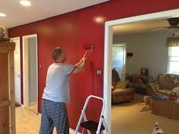 cabin red accent walls in kitchen dining room painting ideas