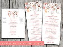 jar wedding programs jar wedding program microsoft word template coral