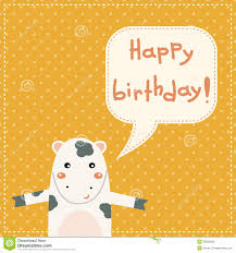 Cow Birthday Card Cute Happy Birthday Card With Fun Cow Stock Photos Image 35829033