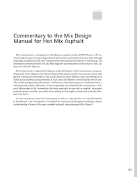 commentary to the mix design manual for mix asphalt a manual