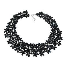 black white crystal necklace images Lavish mini florals black crystal statement necklace aeravida jpg