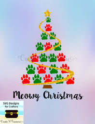 christmas tree cat paw print svg dxf cutting file for
