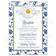 wedding reception card wedding reception card royal blue floral damask ribbon