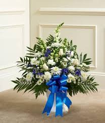 Traditional Funeral Flower - blue u0026 white traditional funeral basket spray in elizabeth pa