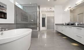 modern contemporary vanities bathrooms with grey floors modern