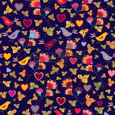 floral wallpaper with birds and hearts royalty free cliparts