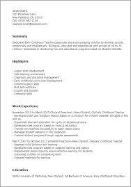 sample resume for early childhood teacher gallery creawizard com