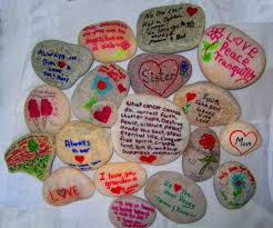 some of the rocks my family painted for mom u0027s memorial garden