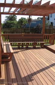pergola on deck with built in seating ours will kind of look