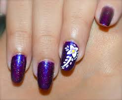 purple and white flower nail art pretty floral design love for
