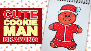 how to draw cute cartoon christmas cookie man in santa costume
