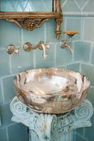 Sterling Silver Bath Wash Basin With Light Blue Tile Bathroom Sterling Bathroom Fixtures