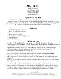 Technical Support Resume Template Professional Application Engineer Resume Templates To Showcase