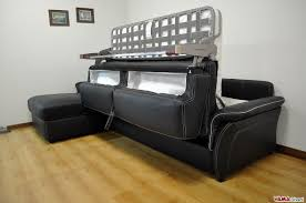 Double Sofa Bed Cheap by Leather Sofa Bed With Wooden Finishing In Its Arms