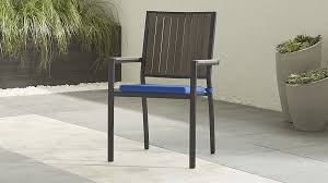 Crate And Barrel Dining Table Grey Stackable Outdoor Dining Chair U0026 Blue Cushion Crate And Barrel