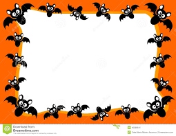 Halloween Invitation Card Flying Bats Frame Stock Illustration