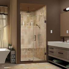 frosted bronze shower doors showers the home depot