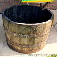whiskey barrel planter project part one happy hour projects