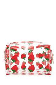 a clear makeup bag featuring a glittery strawberry print and a top