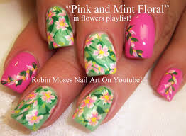 easy spring flower nails pastel flowers nail art design tutorial