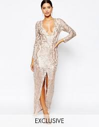 club l club l sequin maxi dress with plunge back and long sleeves