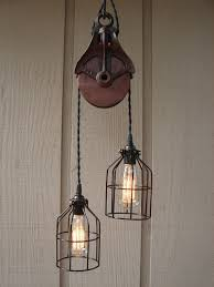 Farmhouse Lighting Pendant Upcycled Vintage Farm Pulley Lighting Pendant By Benclifdesigns