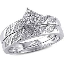 silver wedding ring sets miabella diamond accent sterling silver bridal ring set walmart