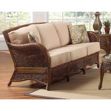 All Weather Wicker Loveseat Exterior Black Cape May Wicker With Cushions And Side Table On