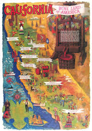California Wine Country Map A California Wine Land In Posters