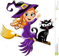 halloween witch cat flying broom kid stock vector image 60988361