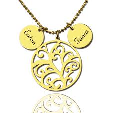 Name Charm Mothers Day Necklaces Family Tree Necklace With Name Charm
