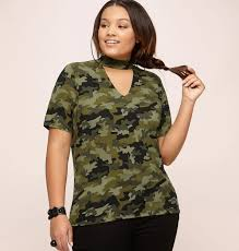 Plus Size Camouflage Clothing Camo Choker Top Plus Size Top Loralette