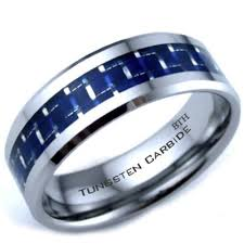 mens blue wedding bands carbide blue carbon inlay scratch proof mens wedding band ring