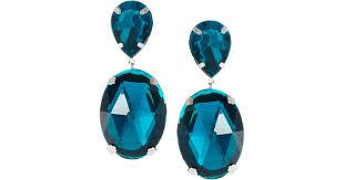 blue drop earrings lyst asos gem drop earrings in blue