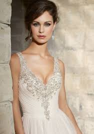 wedding dress with beading beaded embroidery trims chantilly lace on morilee