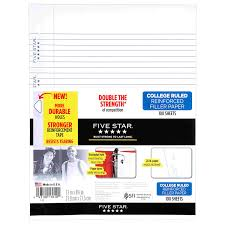 amazon com five star filler paper college ruled reinforced