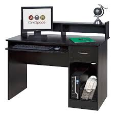 black desk with hutch onespace 50 ld0105 essential computer desk hutch pull out keyboard