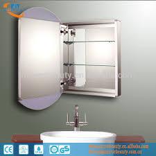 led aluminum bathroom mirror cabinet with adjustable glass shelf