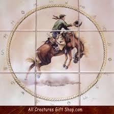 Ceramic Tile Mural Backsplash by A Lovely Antique Western Bronco Rider Ceramic Tile Mural