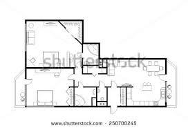 three room apartment draft plan threeroom apartment 120m furniture stock illustration